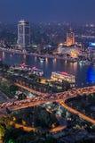 Σκηνή βραδιού από την κορυφή του πύργου του Καίρου στην Αίγυπτο στοκ φωτογραφίες με δικαίωμα ελεύθερης χρήσης