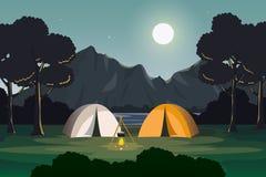 Σκηνή βραδιού στρατοπέδευσης με το τοπίο βουνών και λιμνών διανυσματική απεικόνιση