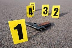 Σκηνή εγκλήματος μετά από το gunfight Στοκ Εικόνες