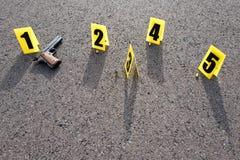Σκηνή εγκλήματος μετά από το gunfight Στοκ φωτογραφίες με δικαίωμα ελεύθερης χρήσης