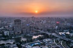 Σκηνή ηλιοβασιλέματος από την κορυφή του πύργου Αίγυπτος του Καίρου στοκ εικόνες με δικαίωμα ελεύθερης χρήσης