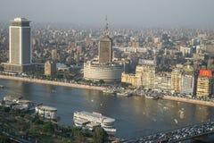 Σκηνή ηλιοβασιλέματος από την κορυφή του πύργου του Καίρου στην Αίγυπτο στοκ φωτογραφία