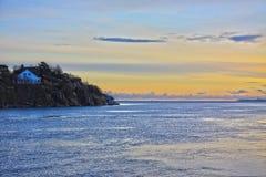 Σκηνή ηλιοβασιλέματος θάλασσας Norwey Στοκ Εικόνες