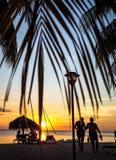 σκηνή ηλιοβασιλέματος που πλαισιώνεται από τα φύλλα φοινικών Στοκ Φωτογραφίες