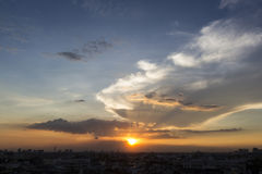 Σκηνή ηλιοβασιλέματος της Μπανγκόκ Στοκ Φωτογραφίες