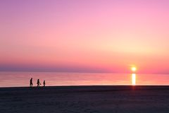 Σκηνή θάλασσας scape στον ωκεανό, ωκεάνιο ηλιοβασίλεμα παραλιών Στοκ φωτογραφίες με δικαίωμα ελεύθερης χρήσης