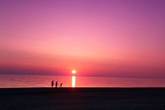 Σκηνή θάλασσας scape στον ωκεανό, ωκεάνιο ηλιοβασίλεμα παραλιών Στοκ Εικόνες
