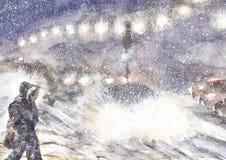 Σκηνή θύελλας χειμερινού χιονιού, θυελλώδης καιρός βραδιού, απεικόνιση watercolor στοκ εικόνες με δικαίωμα ελεύθερης χρήσης