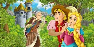 Σκηνή κινούμενων σχεδίων με την όμορφους πριγκήπισσα και τον πρίγκηπα που στέκονται και που φαίνονται συγκλονισμένους Στοκ Φωτογραφία