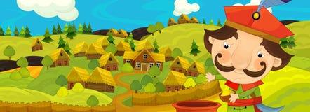 Σκηνή κινούμενων σχεδίων με τον αγρότη κοντά στο αγροτικό χωριό Στοκ Φωτογραφία