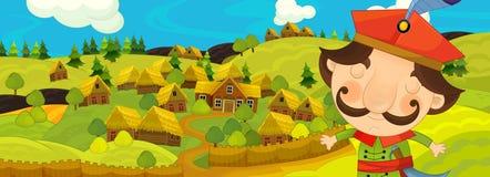 Σκηνή κινούμενων σχεδίων με τον αγρότη κοντά στο αγροτικό χωριό Στοκ Εικόνες