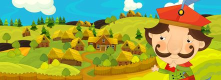 Σκηνή κινούμενων σχεδίων με τον αγρότη κοντά στο αγροτικό χωριό Στοκ Εικόνα