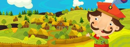 Σκηνή κινούμενων σχεδίων με τον αγρότη κοντά στο αγροτικό χωριό Στοκ εικόνες με δικαίωμα ελεύθερης χρήσης