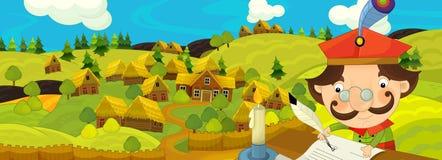 Σκηνή κινούμενων σχεδίων με τον αγρότη κοντά στο αγροτικό χωριό Στοκ φωτογραφία με δικαίωμα ελεύθερης χρήσης