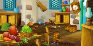 Σκηνή κινούμενων σχεδίων της ντεμοντέ κουζίνας - απεικόνιση για τα παιδιά για τη διαφορετική χρήση Στοκ εικόνα με δικαίωμα ελεύθερης χρήσης