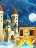 Σκηνή κινούμενων σχεδίων με την πριγκήπισσα ή τη βασίλισσα - εικόνα για κάποιο παραμύθι - όμορφες κάστρο και μεταφορά στο υπόβαθρ διανυσματική απεικόνιση