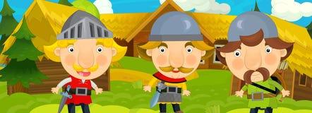 Σκηνή κινούμενων σχεδίων στο παλαιό χωριό - ιππότες που μιλά στους χωρικούς - υπόβαθρο για τη διαφορετική χρήση - για το παιχνίδι Στοκ φωτογραφία με δικαίωμα ελεύθερης χρήσης
