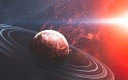 Σκηνή κόσμου με τους πλανήτες, τα αστέρια και τους γαλαξίες στο μακρινό διάστημα s Στοκ εικόνες με δικαίωμα ελεύθερης χρήσης