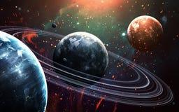 Σκηνή κόσμου με τους πλανήτες, τα αστέρια και τους γαλαξίες στο μακρινό διάστημα που παρουσιάζει την ομορφιά της εξερεύνησης του  Στοκ εικόνα με δικαίωμα ελεύθερης χρήσης