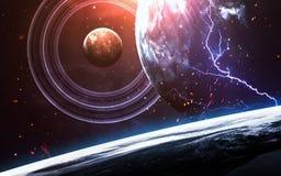 Σκηνή κόσμου με τους πλανήτες, τα αστέρια και τους γαλαξίες στο μακρινό διάστημα που παρουσιάζει την ομορφιά της εξερεύνησης του  Στοκ φωτογραφία με δικαίωμα ελεύθερης χρήσης