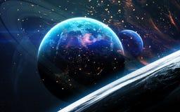 Σκηνή κόσμου με τους πλανήτες, τα αστέρια και τους γαλαξίες στο μακρινό διάστημα που παρουσιάζει την ομορφιά της εξερεύνησης του  Στοκ Εικόνα