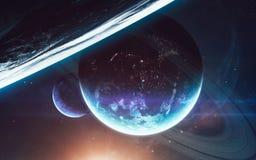 Σκηνή κόσμου με τους πλανήτες, τα αστέρια και τους γαλαξίες στο μακρινό διάστημα που παρουσιάζει την ομορφιά της εξερεύνησης του  Στοκ εικόνες με δικαίωμα ελεύθερης χρήσης
