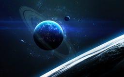 Σκηνή κόσμου με τους πλανήτες, τα αστέρια και τους γαλαξίες στο μακρινό διάστημα που παρουσιάζει την ομορφιά της εξερεύνησης του  Στοκ Φωτογραφία