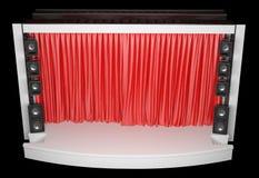 Σκηνή με μια κόκκινη κουρτίνα και ακουστικούς ομιλητές Στοκ Εικόνα