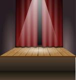 Σκηνή με τα φω'τα και την κουρτίνα ελεύθερη απεικόνιση δικαιώματος