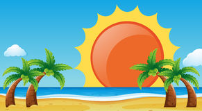 Σκηνή με την παραλία και τον ωκεανό ελεύθερη απεικόνιση δικαιώματος