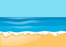 Σκηνή με τον ωκεανό και την παραλία διανυσματική απεικόνιση