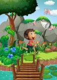 Σκηνή με το αγόρι που πιάνει τα έντομα στον κήπο στοκ εικόνες