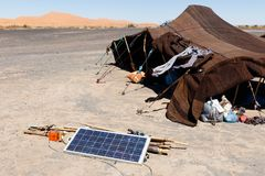 Σκηνή νομάδων στη μαροκινή έρημο Στοκ Φωτογραφίες