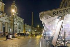 Σκηνή νυχτερινής ζωής στην πλατεία Navona, Ρώμη Στοκ εικόνα με δικαίωμα ελεύθερης χρήσης
