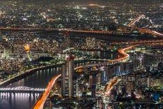 Σκηνή νύχτας από το ΤΟΚΙΟ SKYTREE, Ιαπωνία Στοκ εικόνα με δικαίωμα ελεύθερης χρήσης