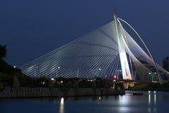 σκηνή νύχτας γραμμών γεφυρών Στοκ εικόνες με δικαίωμα ελεύθερης χρήσης