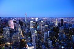 Σκηνή 2015 νύχτας ηλιοβασιλέματος της Νέας Υόρκης Στοκ Φωτογραφία