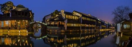 Σκηνή νύχτας οικοδόμησης της Κίνας Στοκ φωτογραφία με δικαίωμα ελεύθερης χρήσης