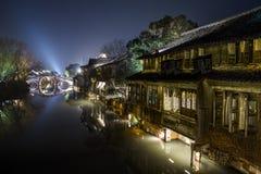 Σκηνή νύχτας οικοδόμησης της Κίνας Στοκ φωτογραφίες με δικαίωμα ελεύθερης χρήσης