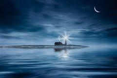 σκηνή νύχτας σεληνόφωτου φάρων Στοκ εικόνα με δικαίωμα ελεύθερης χρήσης