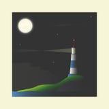 σκηνή νύχτας σεληνόφωτου φάρων Στοκ φωτογραφία με δικαίωμα ελεύθερης χρήσης