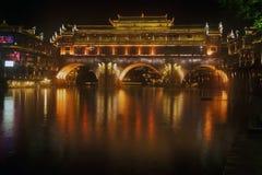 Σκηνή νύχτας στην αρχαία πόλη Fenghuang Στοκ φωτογραφία με δικαίωμα ελεύθερης χρήσης
