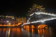 Σκηνή νύχτας στην αρχαία πόλη Fenghuang Στοκ Φωτογραφία
