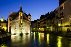 Σκηνή νύχτας στο Annecy, Γαλλία Στοκ φωτογραφία με δικαίωμα ελεύθερης χρήσης