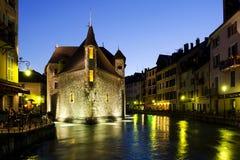 Σκηνή νύχτας στο Annecy, Γαλλία Στοκ Εικόνες