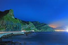Σκηνή νύχτας της ακτής στην Ταϊβάν Στοκ Φωτογραφία