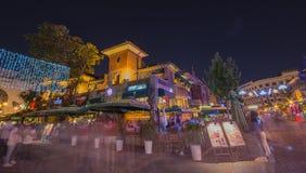 Σκηνή νύχτας της ιταλικής πόλης ύφους, ένα τουριστικό αξιοθέατο στο Tj Στοκ φωτογραφίες με δικαίωμα ελεύθερης χρήσης
