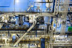 Σκηνή νύχτας του εργοστασίου χημικής βιομηχανίας Στοκ Φωτογραφίες