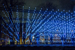 Σκηνή νύχτας του ελαφριού φεστιβάλ του Άμστερνταμ Στοκ φωτογραφία με δικαίωμα ελεύθερης χρήσης