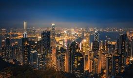 Σκηνή νύχτας του Χογκ Κογκ στοκ φωτογραφίες